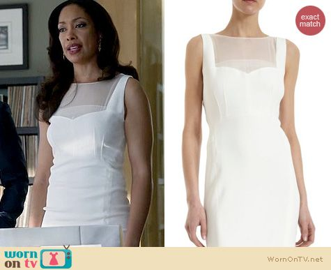 Suits Fashion: Narciso Rodriguez White Sheer Inset dress worn by Gina Torres