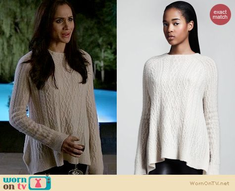 Wornontv Rachel S White Cable Knit Sweater On Suits