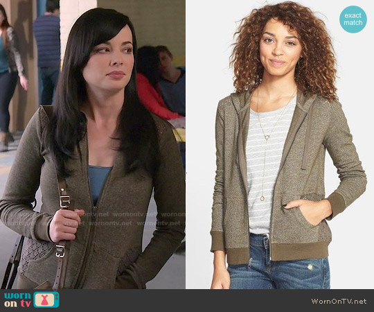 Sun & Shadow Lace Panel Front Zip Hoodie worn by Ashley Rickards on Awkward