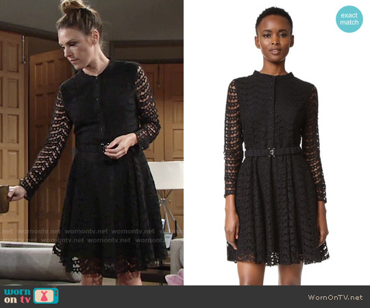 Suncoo Charline Belted Dress worn by Elizabeth Hendrickson on The Young & the Restless