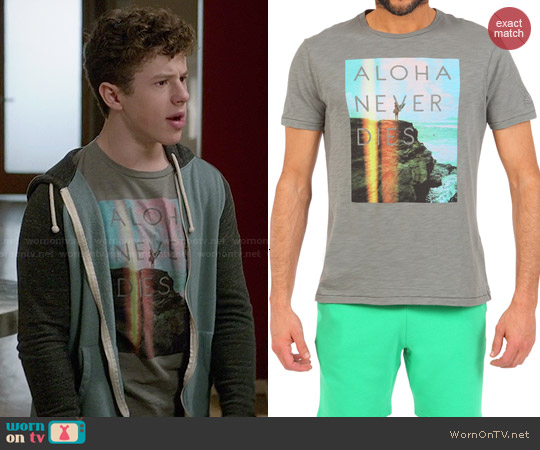 Sundek Aloha Never Dies Photographic Print T-shirt worn by Nolan Gould on Modern Family