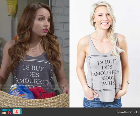 Sundry 18 Rue Tank worn by Aimee Carrero on Young & Hungry