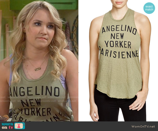 Sundry Slub City Girls Tank worn by Emily Osment on Young & Hungry