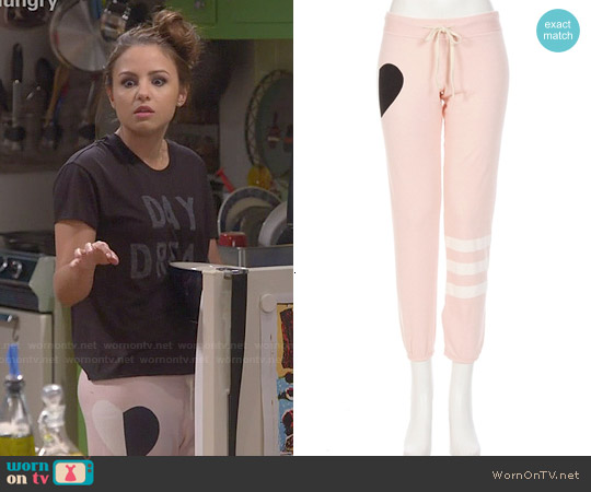 Sundry Striped Leg Heart Sweatpants worn by Sofia Rodriguez on Young & Hungry
