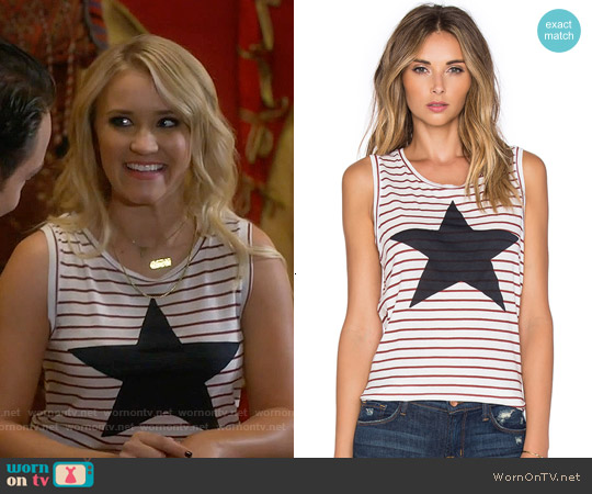 Sundry Striped Star Muscle Tank worn by Emily Osment on Young & Hungry