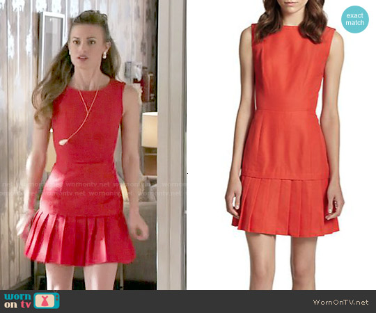 Coated Pleated-Hem Dress worn by Brooke D'Orsay on Royal Pains