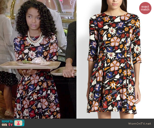 Suno Floral Fit & Flare Dress worn by Yara Shahidi on Black-ish