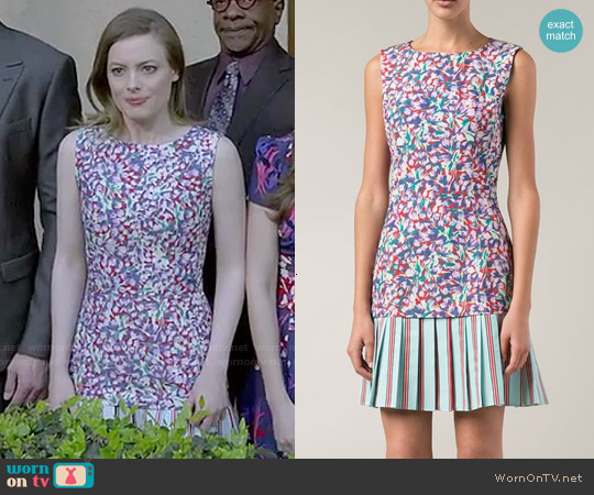 Suno Floral Print Pleated Skirt Dress worn by Gillian Jacobs on Community