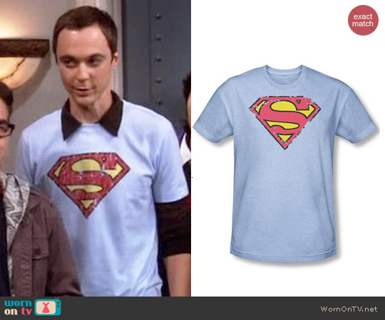 Distressed sky blue Superman logo tee worn by Sheldon Cooper on The Big Bang Theory