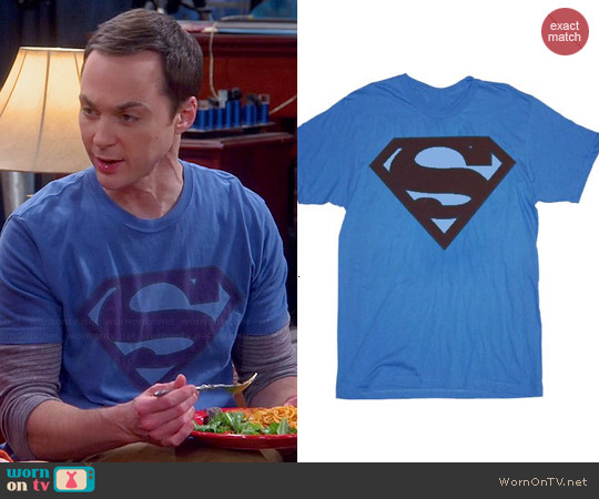 Superman Faded Maroon Original Logo T-shirt worn by Jim Parsons on The Big Bang Theory