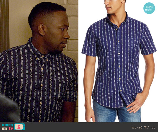 Surfside Supply Company Short Sleeve Dobby Print Shirt worn by Lamorne Morris on New Girl