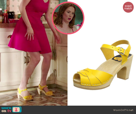 Swedish Hasbeens Peep Toe Super High Platform Sandal in Yellow worn by Kimmy Schmidt on Unbreakable Kimmy Schmidt