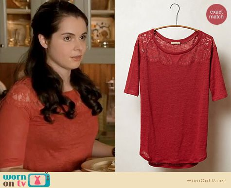 Switched at Birth Fashion: Anthropologie Scalloped lace blouse worn by Vanessa Marano