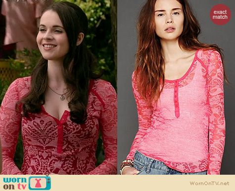 Switched at Birth Fashion: Free People damask print burnout henley worn by Vanessa Marano