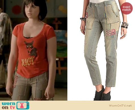 Switched at Birth Fashion: Free People Railroad Striped Patched denim trousers worn by Vanessa Marano