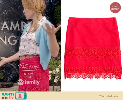 Switched at Birth Fashion: J. Crew daisy lace skirt worn by Katie Leclerc