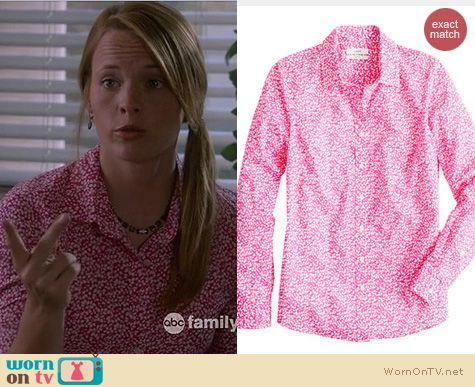 Switched at Birth Fashion: J. Crew Liberty Perfect shirt in Glenjade worn by Katie Leclerc