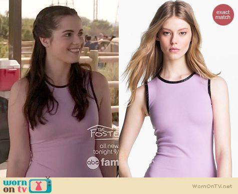 Switched at Birth Fashion: L'Agence Leather trim ponte top worn by Vanessa Marano