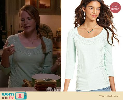 Switched at Birth Fashion: Lucky Brand beaded scoop neck three quarter sleeve tee worn by Katie Leclerc