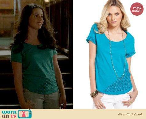 Switched at Birth Fashion: Lucky Brand eyelet tee worn by Vanessa Marano