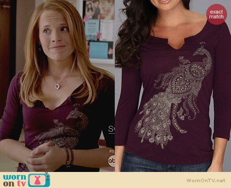 Switched at Birth Fashion: Lucky Brand Peacock Tee worn by Katie Leclerc