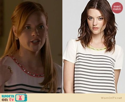 Switched at Birth Fashion: Madison Marcus striped silk tee with embellished neckline worn by Katie Leclerc