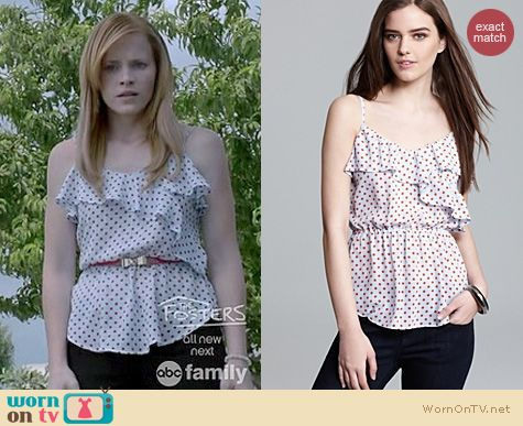 Switched at Birth Fashion: Patterson J Kincaid polka dot ruffle top worn by Katie Leclerc