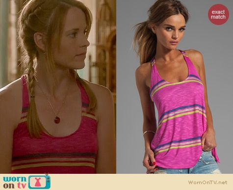 Switched at Birth Fashion: Splendid Hermosa Pink striped tank worn by Katie Leclerc