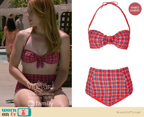 Switched at Birth Fashion: Topshop red texture check bikini worn by Katie Leclerc