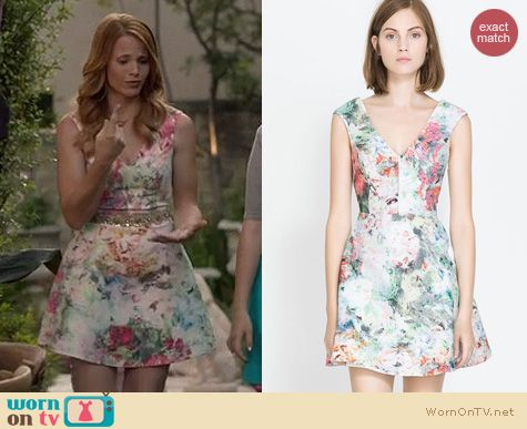 Switched at Birth Fashion: Zara Jacquard Dress with cutout back worn by Katie Leclerc