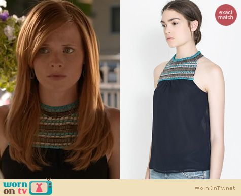 Switched at Birth Fashion: Zara Navy top with embellished neckline worn by Katie Leclerc