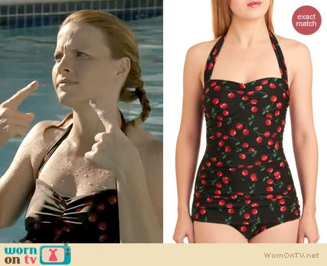 Switched at Birth Fashion: ModCloth's Fruity Suity one piece by Esther Williams worn by Katie Leclerc