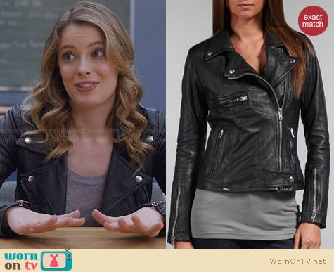 Sword Novara Moto Leather Jacket worn by Gillian Jacobs on Community