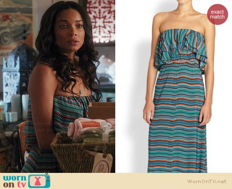 TBags Los Angeles Strapless Ruffle Maxi Dress worn by Rochelle Aytes on Mistresses