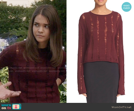T by Alexander Wang Drop Needle Merino Jersey Crop Sweater worn by Maia Mitchell on The Fosters