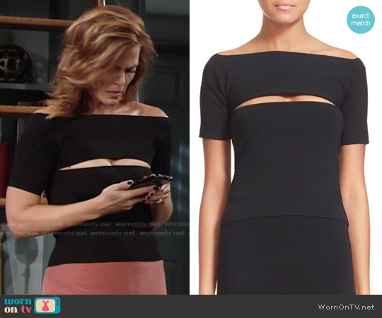 T By Alexander Wang Slash Detail Stretch Knit Bandeau Top worn by Gina Tognoni on The Young & the Restless