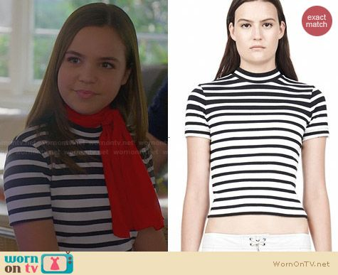 T by Alexander Wang Engineer Stripe Crop Top worn by Bailee Madison