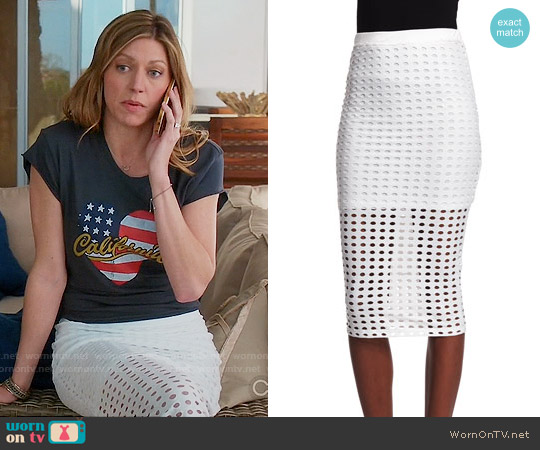 T by Alexander Wang Eyelet Jacquard Pencil Skirt worn by Jes Macallan on Mistresses