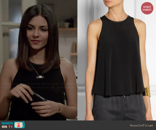 T By Alexander Wang Leather Trim Double Layer Tank worn by Victoria Justice on Eye Candy
