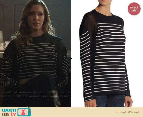 T by Alexander Wang Long Sleeve Sheer Insert Top worn by Katie Cassidy on Arrow