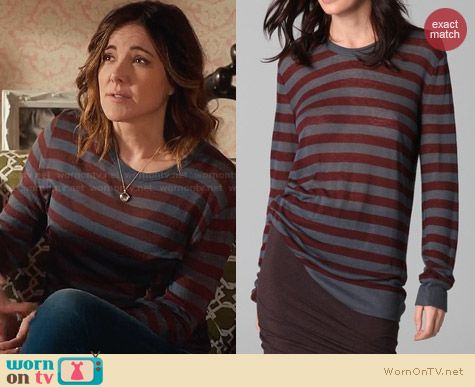 T by Alexander Wang Long Sleeve Stripe Tee worn by Christa Miller on Cougar Town