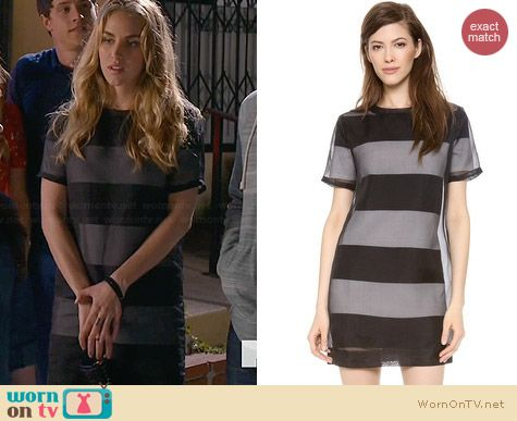 T by Alexander Wang Organza Overlay Striped Knit Tee Dress worn by Elizabeth Whitson on Awkward