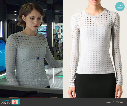 T by Alexander Wang Perforated Longsleeved Top worn by Willa Holland on Arrow