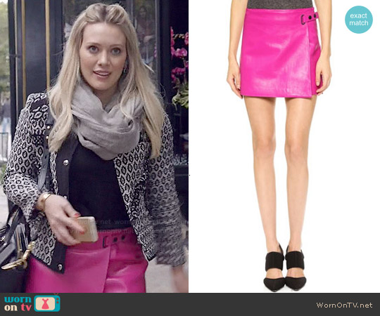 T by Alexander Wang Pink Leather Wrap Skirt worn by Hilary Duff on Younger