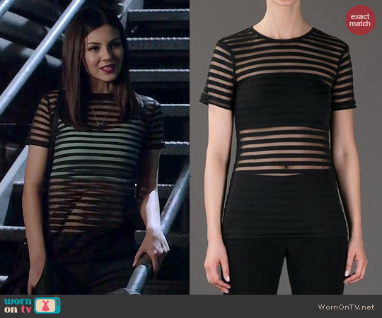 T by Alexander Wang Sheer Striped Top worn by Victoria Justice on Eye Candy