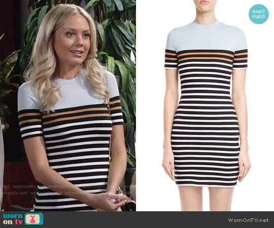 T by Alexander Wang Stretch Cotton Striped Dress worn by Melissa Ordway on The Young & the Restless