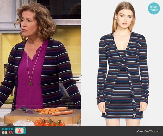 T By Alexander Wang Superfine Merino Wool Cardigan worn by Nancy Travis on Last Man Standing