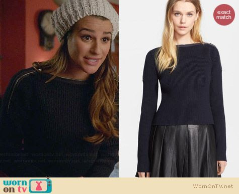 T By Alexander Wang Zip Shoulder Ribbed Sweater worn by Lea Michele on Glee