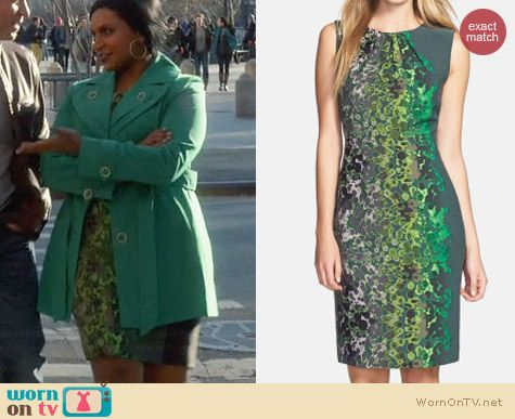 T Tahari Lucille Dress in Jazz Jade worn by Mindy Kaling on The Mindy Project