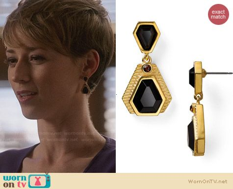 T Tahari Project 9 Bobby Earrings in Black worn by Karine Vanasse on Revenge